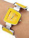 아가씨들 패션 시계 팔찌 시계 석영 합금 밴드 뱅글 우아한 노란색