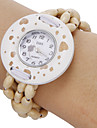 Women's Heart Pattern Round Dial Wooden Beads Band Quartz Analog Bracelet Watch Cool Watches Unique Watches