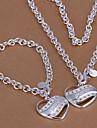 Conjunto de Jóias Colares com Pendentes Amor Coração Prata Chapeada Liga Formato de Coração Colares Bracelete Para Casamento Festa Diário