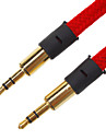 3.5mm Male to Male Audio Cable Flat-Type Fabric Red(1.5M)