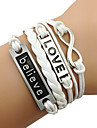 Femme Bracelets Bracelets Vintage bijoux de fantaisie Noël Mode Cuir Tissu Alliage Forme de Cercle Infini Bijoux Pour Quotidien