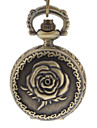 Women's Rose Cover Vintage Alloy Quartz Analog Pocket Watch with Chain Cool Watches Unique Watches