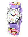 아이들의 3D 만화 딸기 소녀 패턴 실리콘 악대 작은 둥근 석영 아날로그 손목 시계 다이얼