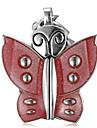 여성의 나비 모양 백색 석영 아날로그 열쇠 고리 시계 다이얼