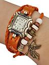 Pendentif ange boîtier carré bande de cuir quartz analogique montre bracelet des femmes (couleurs assorties)