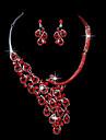 Красный кристалл павлин брак костюм уха клип серьги ожерелье