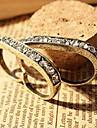 минималистский ретро двойное кольцо пальца кольцо с бриллиантом (случайный цвет)