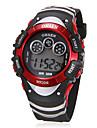 unisexe multifonctionnel cadran rond élastique lcd montre-bracelet numérique (couleurs assorties)