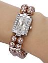 Femme Montre Tendance Bracelet de Montre Montre Diamant Simulation Quartz Imitation de diamant Bande Perles Blanc