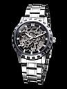Men's Skeleton Round Dial Steel Band Auto-Mechainical Wrist Watch Cool Watch Unique Watch
