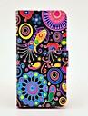 Teste padrão colorido da Medusa Capa de Couro PU com Magnetic Snap e slot para cartão de Samsung Galaxy S4 mini-I9190