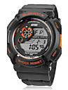 Men's Multi-Functional Round Dial Rubber Band LCD Digital Wrist Watch (Assorted Color)
