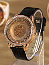 Résistant à l'eau en cuir pour femme de quartz de bande de montre de robe analogique