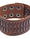 Punk 22Cm Men'S Coffee  Leather Bracelet(Coffee)(1 Pc)