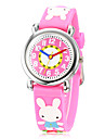 Children's 3D Cartoon Rabbit Pattern Silicone Band Little Round Dial Quartz Analog Wrist Watch