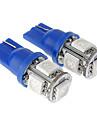 T10 1W 5x5050SMD 20-50LM Blue Light LED Bulb for Car (12V)