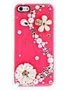 Flores delicadas e pérolas em forma de S e Diamond Hard Case coberto com adesivo de unha para iPhone 5/5S (cores sortidas)