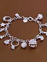 Sweet 18.5cm Women's Silver Copper Charm Bracelet(Silver)(1 Pc) Jewelry Christmas Gifts