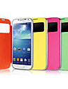 용 삼성 갤럭시 케이스 윈도우 / 플립 케이스 풀 바디 케이스 단색 인조 가죽 Samsung S4