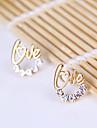 Fashion fresh style gold letters LOVE diamond earrings earrings garland E811