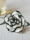 South Korean Fashion Jewelry Wholesale Simple Black And White Rose Flower Ring Ring