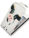 Cow Pattern Up-Down Turn Over PU Leather Full Bady Case for iPhone 4/4S