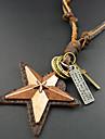 Муж. Ожерелья с подвесками Винтаж Ожерелья В форме звезды Кожа Ручная работа Бижутерия Для Повседневные