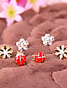 Mode simples petites fleurs de marguerite coccinelle de fleur de diamant boucles d'oreilles E785
