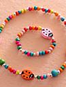 Бижутерия 1 ожерелье 1 браслет Повседневные Резина 1 комплект Девочки Красный Свадебные подарки