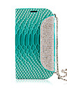 For Samsung Galaxy Case Card Holder / Rhinestone / with Stand / Flip / Embossed Case Full Body Case Solid Color PU Leather Samsung S3