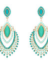 Drop Earrings Resin Simulated Diamond Alloy Green Jewelry Wedding Party Daily