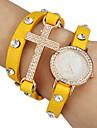 Женская Кристалл Креста Декор Кожаный ремешок Кварцевые аналоговые часы браслет (разных цветов)