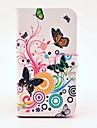 Borboleta bonita e padrão de flor Caso PU de couro com Magnetic Snap e slot para cartão de Samsung Galaxy S3 I9300