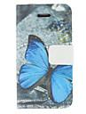 아이폰 7 7 플러스 기가 6 플러스 자체 5 초 파란색 나비 패턴 PU 가죽 전신 경우도 5c 5 4S 4
