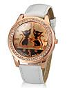 여성의 고양이 패턴 골드 다이아몬드 케이스 PU 밴드 석영 손목 시계