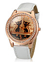 Women's Cats Pattern Gold Diamond Case PU Band Quartz Wrist Watch Cool Watches Unique Watches