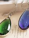 Европейский (падение кулон) синий камень с серебряный сплав кулон ожерелье (синий, зеленый) (1 шт)