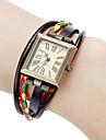 Женские Модные часы Часы-браслет Японский Кварцевый Натуральная кожа Группа Винтаж Богемные Черный Белый Красный Коричневый Разноцветный
