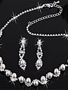 посеребренные свадебный жемчужное хрустальные серьги ожерелье