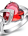 Fashion Women's Red Platinum Plated Brass Statement Rings(1Pc)