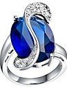 Classic Women's Dark Blue Platinum Plated Brass Statement Rings(1Pc)