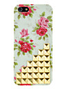 Blooming Roses Pattern and Rivet Designed Light Green PC Hard Case for iPhone 5C