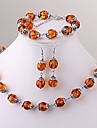 Tibet Silver Round Amber Beads Necklace Bracelet Earrings Set