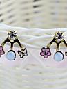 Сладкий Крошечный цветок и бантом горный хрусталь с золотой сплав серьги-гвоздики (1 пара)