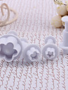 Plum Blossom Pattern Cake and Cookies Cutter Mold with Spring Plunger (4 PCS)