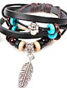 Мода Перо и бусы 21см Мужская Черный сплава Кожаный браслет (1 шт)