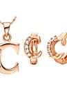 alfabeto letra c prata banhado a ouro (colares&brincos) conjuntos de jóias de casamento