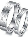 Classic Lovers Stainless Steel Stone Mandrel Couple Rings (2 Pcs)