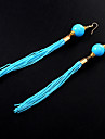Ethnic (Tassel Drop) Assorted Color Alloy&Acrylic Drop Earrings(More Colors) (1 Pair)