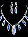 Wedding Blue Elegant Rhinetone Crytal Earring & Necklace Jewelry et
